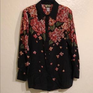 Women's embellished button down blouse size L